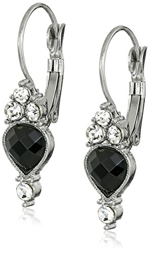 1928 Jewelry Silver-Tone Black Faceted and Crystal Drop Earrings