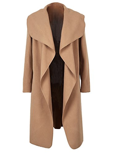 Simplee Apparel Women's Oversized Waterfall Belted Kim Kardashian Jacket Trench Coat, Camel, (Beige Wool Coat)