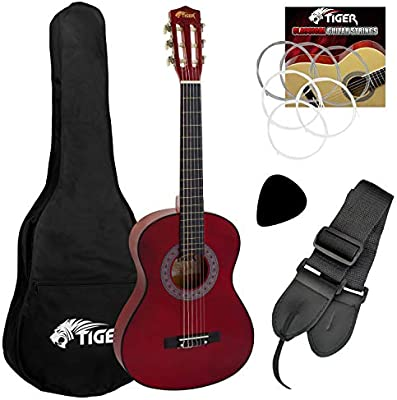 Tiger - Set de guitarra clásica de 3/4, color rojo: Amazon.es ...