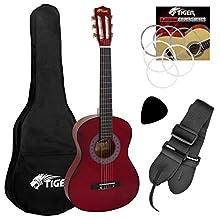 Tiger - Set de guitarra clásica de 3/4, color rojo