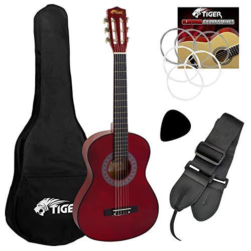 Tiger Set de Guitarra Clásica, Tamaño 1/4, Color Rojo
