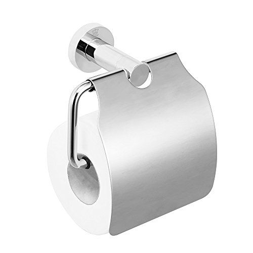 CRW Toilet Paper Holder with Cover Storage Dust-proof for Home Bathroom Chrome
