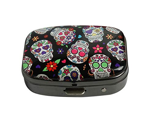 (Youroom Day of The Dead Sugar Skull Custom Stainless Steel Gun Silver Square Glass Pill Case Medicine Vitamin Manager Decorative)