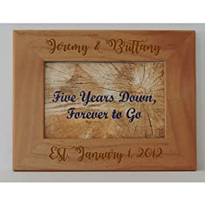 5th Anniversary Wood Gift Photo Frame Customized Engraved 7x5""