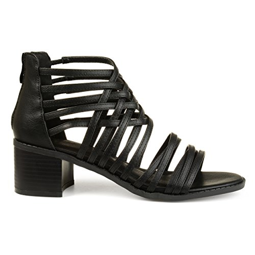 Brinley Co. Womens Deyona Faux Leather Caged Criss-Cross Heeled Sandals Black, 8.5 Regular US - Black Faux Leather Cross