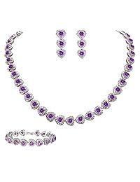 Ever Faith Women's CZ Stunning Love Heart Tennis Necklace Earrings Bracelet Set Silver-Tone