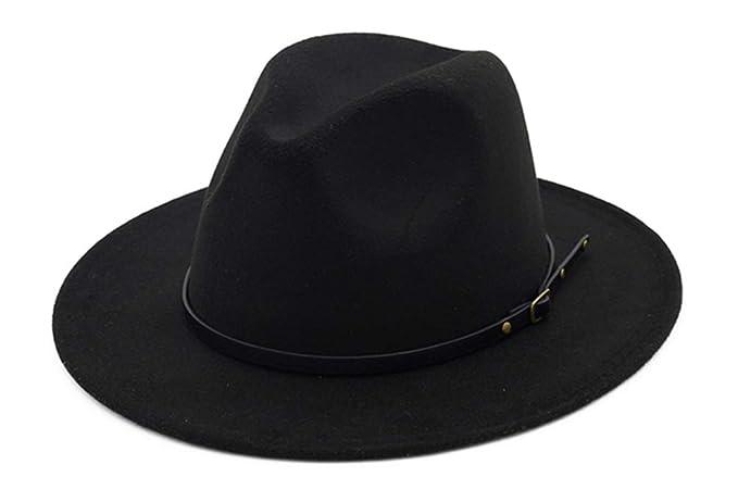 cd9c9f72b570c6 UwantC Womens Belt Buckle Panama Hat Classic Wide Brim Felt Hats Black
