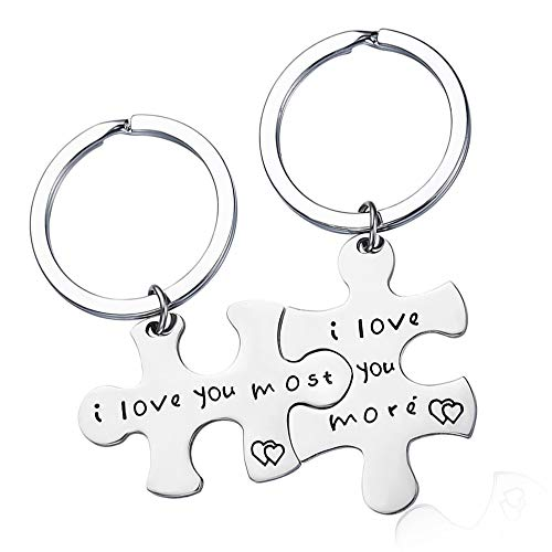 Harsgs Keychain Gift, I Love You More I Love You Most, Couples Keychains Set