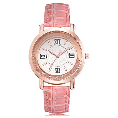 WoCoo Luxury Women's Watch,Fashion Analog Quartz Roman Crystal Dial Watches with Auger Leather Strap Wristwatch(Pink,One Size)