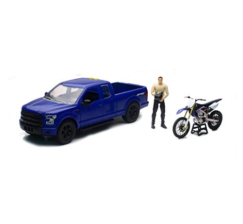 Orange Cycle Parts 1 14 Scale Replica Toy Blue Ford F 150 Pick Up Truck W  Yamaha Yzf450f Dirt Bike W  Lights And Sounds By Newray Toys 02216B