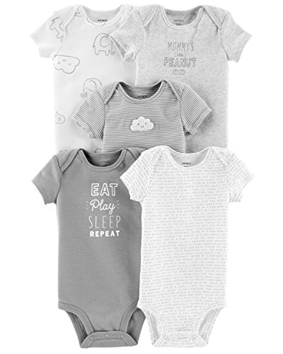 Carter's Baby Boys 5 Pack Bodysuit Set, Eat Play Sleep Repeat, 9 Months