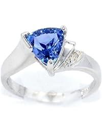 CZ Tanzanite & Diamond Trillion Ring .925 Sterling Silver Rhodium Finish