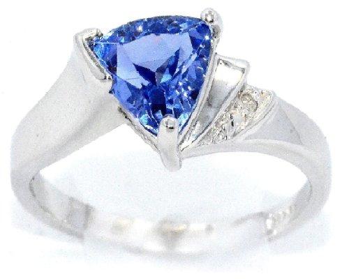 Rhodium Finish .925 Sterling Silver Trillion Tanzanite and Diamond Ring