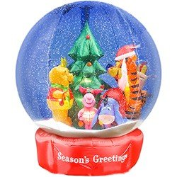 7ft gemmy airblown inflatable snowglobe disney winnie the pooh and friends with christmas