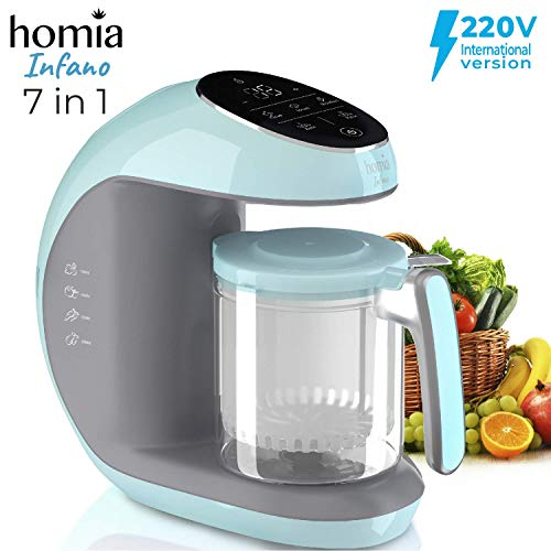 Baby Food Maker Chopper Grinder - Mills and Steamer 7 in 1 Processor for Toddlers - Steam, Blend, Chop, Disinfect, Clean, 20 Oz Tritan Stirring Cup, Touch Control Panel, Auto Shut-Off, 220V Only ()