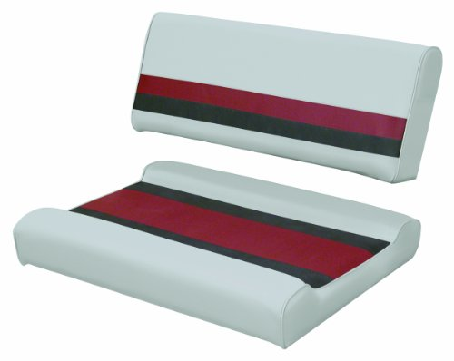 (Wise 8WD125FF-1012 Gray/Red/Charcoal Pontoon Flip-Flop Seat Cushion Set - For use with 8WD125FF-1B Series Base)