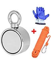 Double Sided Magnet Fishing Magnet with Rope x 65ft(20m), Super Strong Round Neodymium Magnet with Eyebolt, Vertical Tension 300KG Perfect for Magnetic Fishing and Salvage in the River, Diameter 60mm