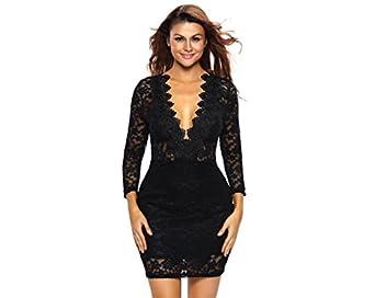 Vestidos De Fiesta De Encaje Negros Ropa De Moda 2017 Largos Cortos Sexys Para Mujer y Noche Elegantes Casuales VE0057