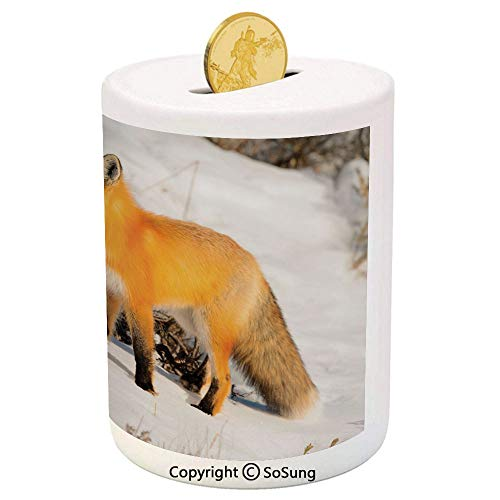 SoSung Fox Ceramic Piggy Bank,Red Fox in Nature Snowy Mountain Cold Winter Scenery Wildlife Carnivore Image Decorative 3D Printed Ceramic Coin Bank Money Box for Kids & Adults,Marigold Brown White