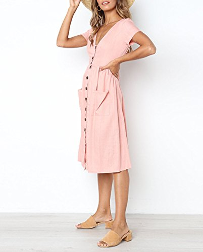 Rose Col Longue Bouton avec Aswinfon Courte Manche Femme Ete Chic Casual Robe Vintage V Robe T64gF