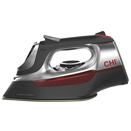 CHI Professional Steam Iron with Electronic temperature controls, 1700 Watts, Titanium-Infused Ceramic Soleplate & Over 400 Steam-Holes, Retractable Cord (13102)