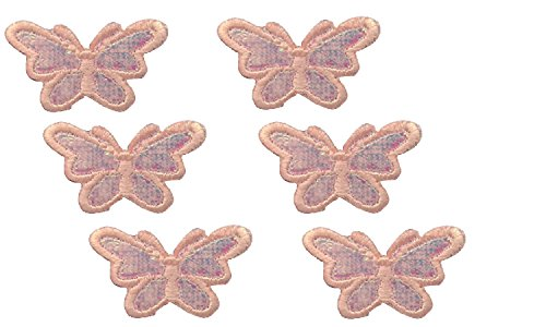 (6 small pieces Pink BUTTERFLY Iron On Patch Embroidered Applique Motif Fabric Children Decal 1.9 x 0.8 inches (4.8 x 2 cm))