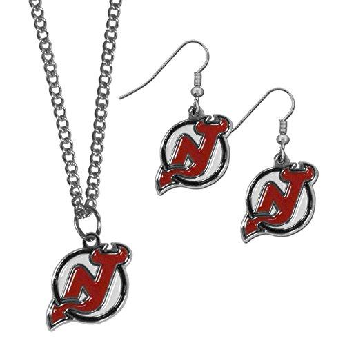 Siskiyou NHL New Jersey Devils Dangle Earrings & Chain Necklace Set ()
