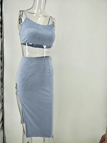 La Noche con Arnés Sostén Vestido Vestido Split XL luz un Moda único azul de Cabaret m de Black q6wxnWz1S