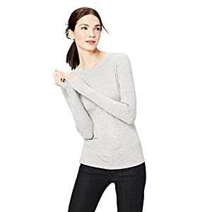 Daily Ritual Women's Rib Knit Jersey Long-Sleeve Crew Neck Shirt, M, Light Heather Grey