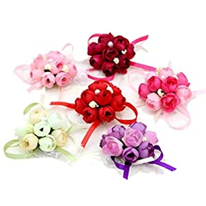 4Pack Wedding Wrist Flowers Artificial Rose Corsage Party Prom Hand Flower Decor for Bridal Bridesmaids Random Color 81