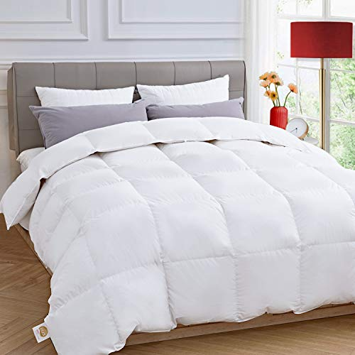 ELEMUSE White Down Comforter with Corner Tabs, Fluffy Lightweight Quilted Duvet Insert for All Season, Egyptian Cotton Hypoallergenic Filling