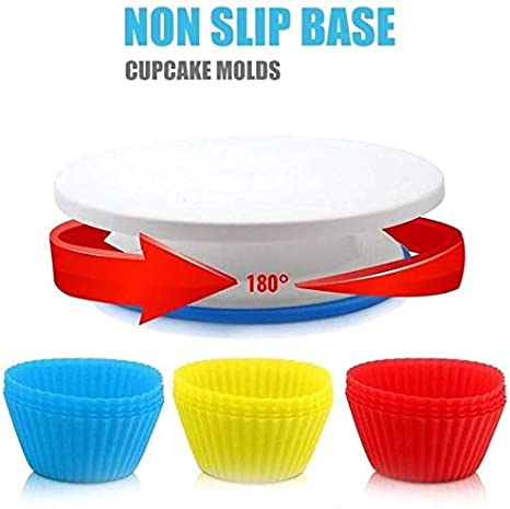 Cake Decorating Equipment Set 181pcs Cupcake Decorating Nozzles Kit,Baking Supplies with Nonslip Turntable Stand,Piping Bagsand Frosting Smoother and More Accessories for Cake DIY Tools