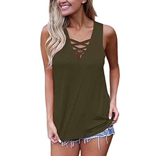 MRULIC Damen Sommer Sleeveless V-Ausschnitt Lace up Criss Cross Cami Tops Brustkreuz Einzigartige Hemd Grün