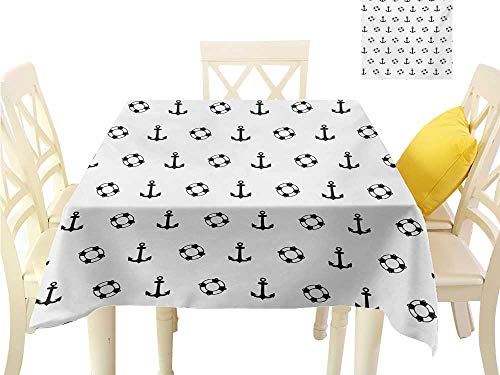 Angoueleven Square Table Cover Nautical,Maritime Theme Objects Anchors and Lifebuoys Pattern Navy Ocean High Seas,Black and White BBQ Tablecloth W 60