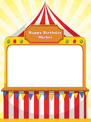 Carnival Party Supplies Photo Props Happy Birthday Circus Photo Booth Prop - sizes 36x24, 48x36 Personalized Party Decorations, Handmade Party Supplies, PhotoBooth, Selfie frame, party favors