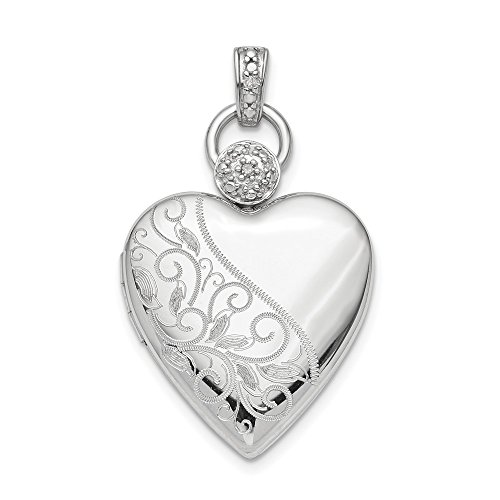 925 Sterling Silver Plate 21mm Heart Diamond Accent Photo Pendant Charm Locket Chain Necklace That Holds Pictures Fine Jewelry Gifts For Women For Her