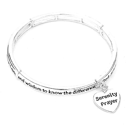 Women's Inspirational Silver Tone Heart Serenity Prayer Bracelet. Stretch Bracelet. (Prayer Heart Serenity)