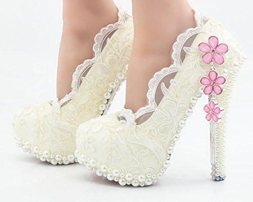 CSDM DONNE grandi dimensioni bianco pizzo scarpe di cristallo ciliegia scarpe da sposa scarpe da sposa diamante alto tacco alto handmade , 11 cm with high reservation , 37