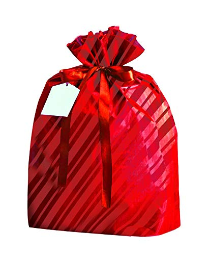 Reusable Easy-to-Use Gift Wrap Bag Available in Three Sizes by K-Kraft Great for Valentine's Day, Christmas, Birthdays and More (Festive Red Stripes, 6-Pack 13 x 17.5 inches) (Wrap Stripe Gift Christmas)