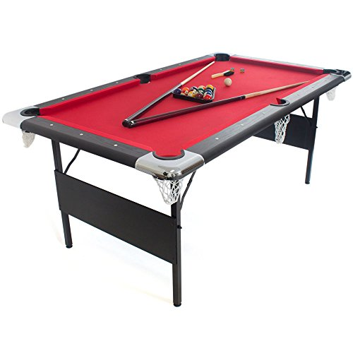 GSE Games & Sports 6-Ft Deluxe Folding Billiard Pool Table with Set of Pool Balls, 2 Pool Cues, and Accessories by GSE