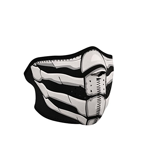 ZANheadgear Mask (Black, One Size Fits Most) (Half,Neoprene, Glow in the Dark, Bone Breath)
