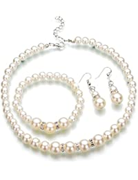 Jay Jewellery - WHITE FAUX PEARL & DIAMANTE CRYSTAL CHOKER NECKLACE, EARRINGS & BRACELET SET
