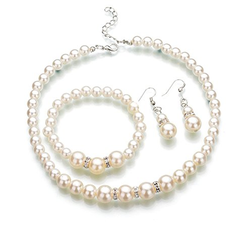 Crystal Rhinestone Necklaces Earrings Bracelets (Bodai Faux Pearl Crystal Choker Necklace Earring Bracelet Jewelry Set (White))