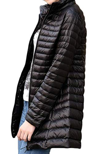 Jacket Light Collared Down Black Insulated Thin Ultra Weight Zip up Packable Women MU2M Stand w7Oq6cRW8