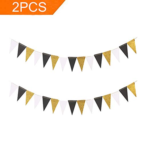 MF2FLAY Glitter Paper Banner, 20 Feet Triangle Sparkling Garland with 15PCS Pennants, Perfect Hanging Decoration for Wedding, Baby Shower and Halloween Supplies - 2PCS x10 Feet (Black+White+Gold) -