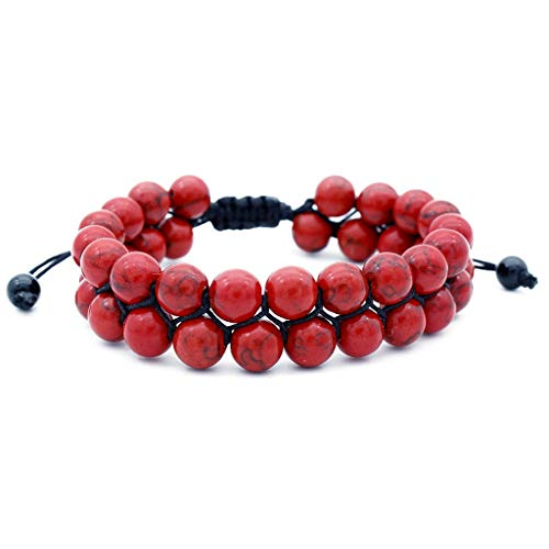 Gahrchian Men Women Lava Natural Stone Bracelet Tiger Eye Stone Rock Onyx Bracelet Oil Anxiety Diffuser Unisex Bracelet (Red) ()