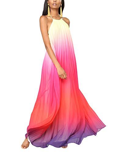 (Summer Maxi Dresses for Women, Chiffon Halter Neck Sleeveless Rainbow Color Print Long Party Prom Beach Dress (red, XL))