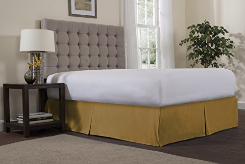 Reversifi - Center Pleat Bed Skirt - 18 Colors Avalaible - Twin Size - Amber Gold