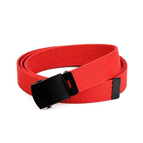 Hold'Em Military Canvas Webbing Belts for MEN'S Black Slider Buckle Heavy Duty Adjustable -Red (Red Black Cool Belt Buckle)