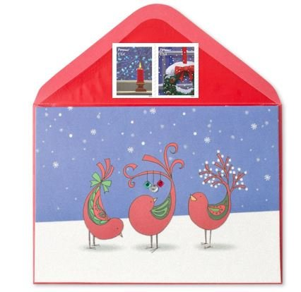 Papyrus Greeting Card (Three Decorated Red Birds and Forever Stamps Bundle)